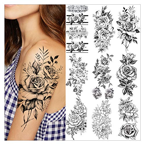 VANTATY 9 Sheets Charm Peony Rose Flower Temporary Tattoos for Women Body Art Blossoms Painting Washable Tattoo Stickers Fake Jewels Bracelet Design Forearm Tatoos for Adults Girls Wrist Arm