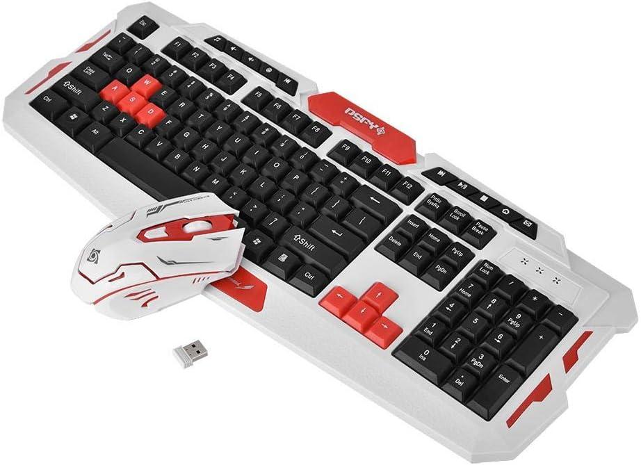 Richer-R Pack de Teclado y Ratón Inalámbrico 2.4GHz de Juegos,Wireless Mouse/Keyboard Gaming para PC,win10 / 7 / Vista/XP / 2000 -OSX, 10.2 y Superior.1000 / 1600DPI dpi Ajustable(Negro+Rojo): Amazon.es: Electrónica