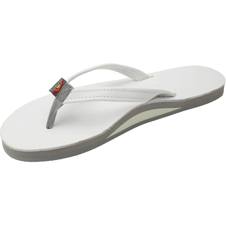 White Rainbow Sandals Premier Leather Single Layer Narrow