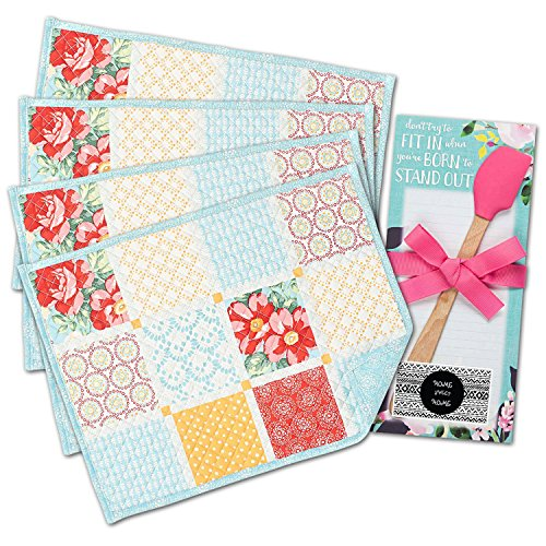 Diamond Patchwork - The Pioneer Woman Placemats Kitchen Quilted Diamond Patchwork Design Set of 4 + Magnetic list pad & Pink Spatula