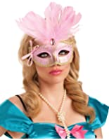 Adult Pink Feather Carnival Mask - Womens Std.
