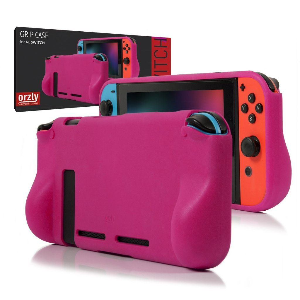 ORZLY® Comfort Grip Case for Nintendo Switch - Protective Back Cover for use on the Nintendo Switch Console in Handheld GamePad Mode with built in Comfort Padded Hand Grips - PINK product image