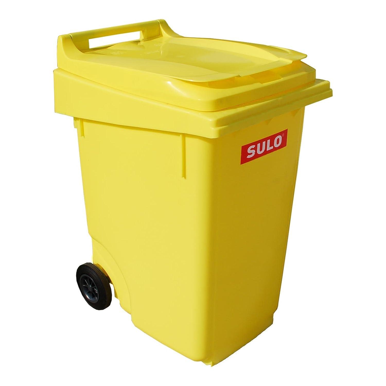 Cubo de basura 2 ruedas, contenedor a basura SULO 360 litros, amarillo (22155): Amazon.es: Bricolaje y herramientas