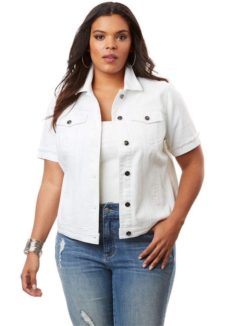 Women's Plus Size Short Sleeve Denim Jacket