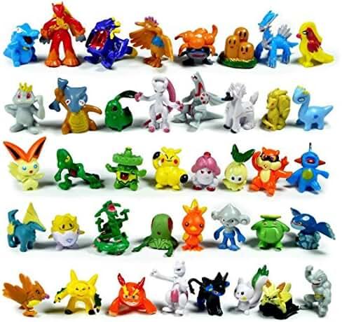 Santa Village Pokemon Action Figures (Random 24 Piece) with Pokemon Rubber Bracelets (12 Count) and 2 Random Stickers