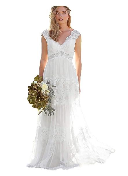 Dressesonline Women S V Neck Bohemian Wedding Dresses Lace Bridal Gown Vestido De Noivas