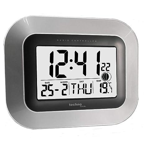 Technoline ws8005 Digital Wall Clock Rectangular Plateado Reloj de Pared