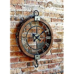 Vintage Industrial Rustic Pulley-Style Roman Numeral Clock 22 Round