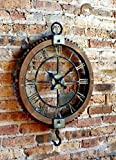Vintage Industrial Rustic Pulley-Style Roman Numeral Clock 22'' Round