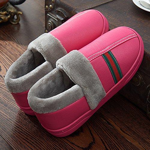 Y-Hui Feng Pu impermeable pareja invierno zapatillas hombres Bolsa de algodón con un interior Home Furnishing espeso caliente inferior antideslizante Rose red