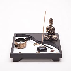 THY COLLECTIBLES Asian Japanese Feng Shui Sand Zen Garden Buddha Incense & Candle HY202B