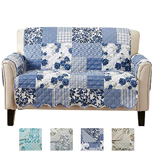 Great Bay Home Patchwork Scalloped Stain Resistant Printed Furniture Protector Brand. (Loveseat, Navy)