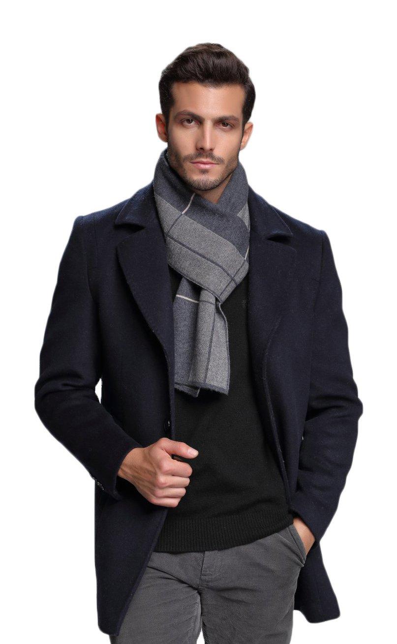 RIONA Men's Australian Merino Wool Plaid Knitted Scarf - Soft Warm Gentleman Neckwear with Gift Box(Grey)