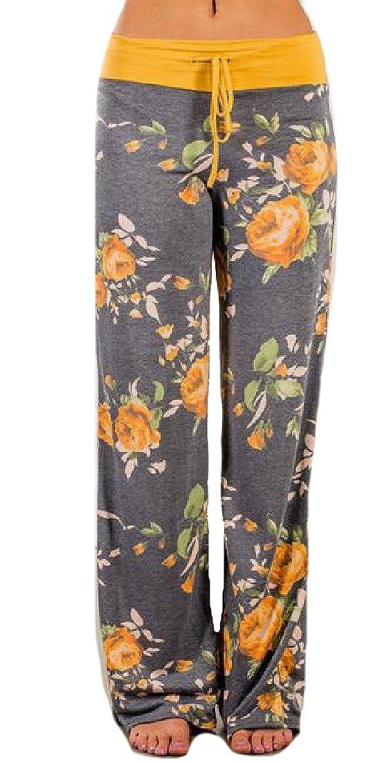EnergyWomen Straight Drawstring Flower Print Relaxed-Fit Long Pant