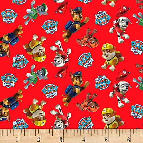 David Textiles Paw Patrol Toss Red Fabric Fabric by the Yard]()
