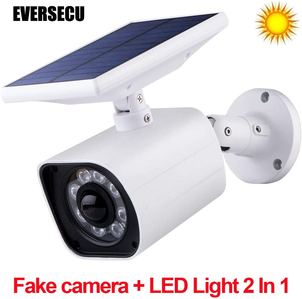 LED Solar Power Light Motion Sensor Wall Lamp Outdoor WiFi Security Fake Camera