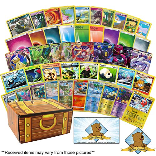 200 Plus Pokemon Cards Lot Including 100 Pokemon Cards - 100 Energy Cards - 3 GX Ultra Rares - 4 Rares - 3 Holo Foils! Learn How to Play Pokemon TCG Instructions! Golden Groundhog Treasure Chest!