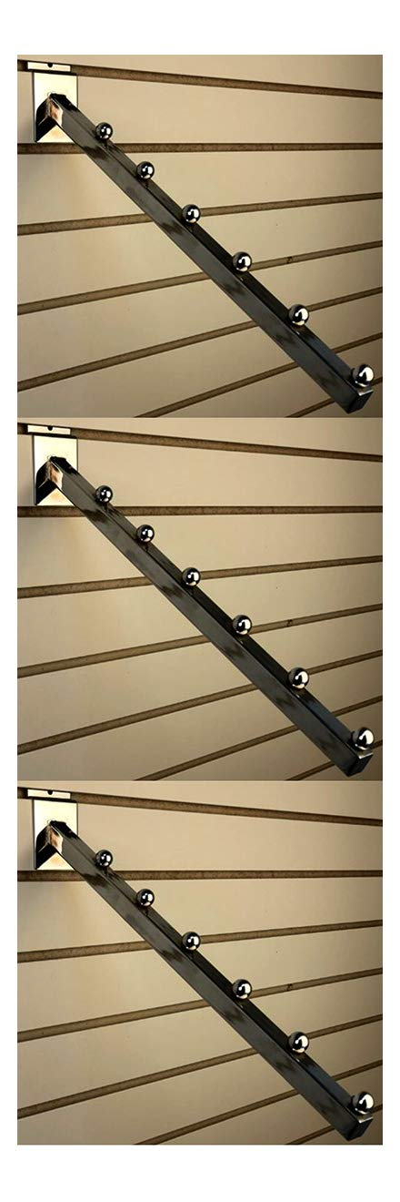 Waterfall Square Tube 6 Ball For Slatwall 16'' Long Chrome Set of 3