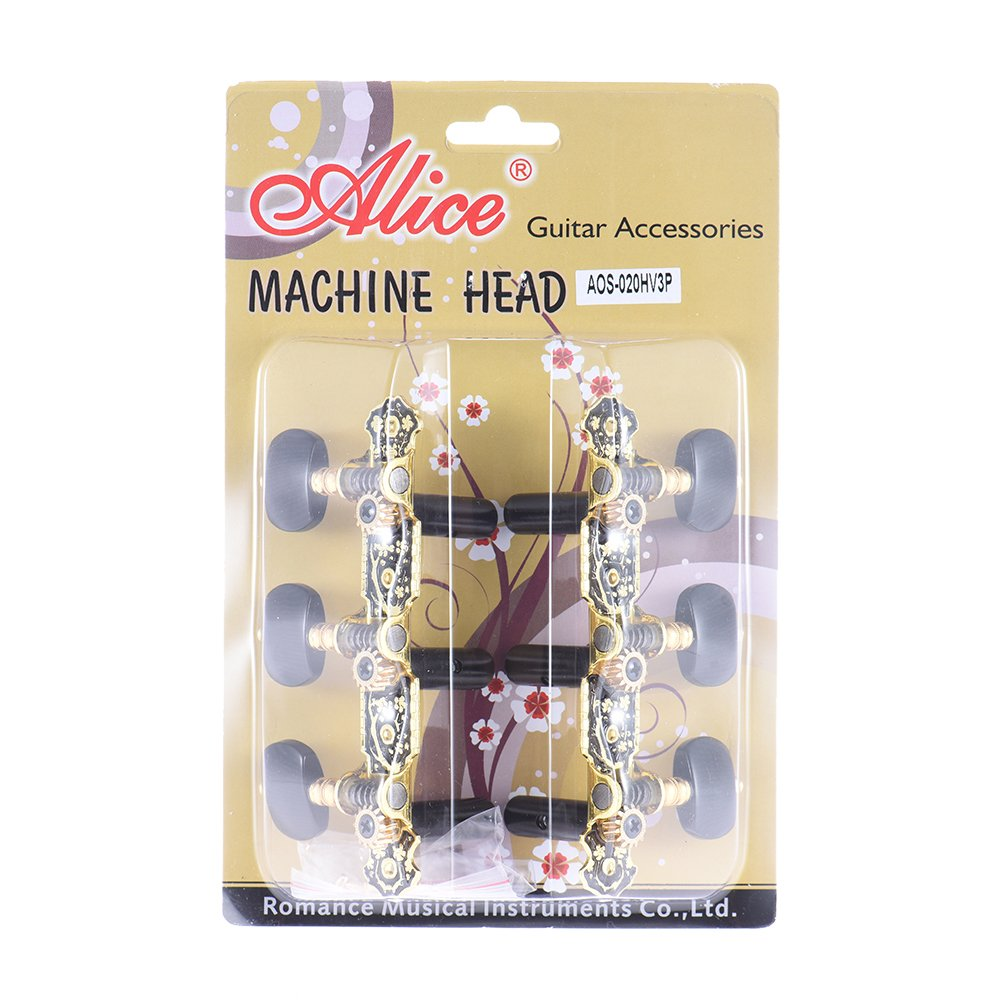 Andoer Alice AOS-020HV3P 2pcs(L&R) Acoustic Classical Guitar Tuning Keys Pegs String Tuners 3+3 Machine Heads (Short) Gold and Black Plated Tuning Peg