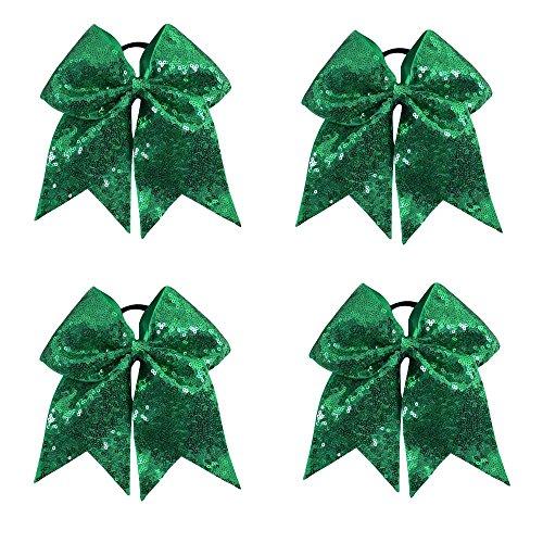 CN Sequin Cheer Bow Big School Color Hair Bow With Elastic Tie For Cheerleading Girls (Cheerleading Hair Ties)