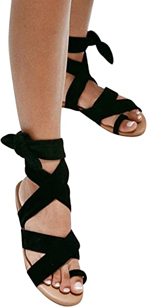 f707fb1422ad Syktkmx Womens Lace Up Strappy Toe Ring Cute Summer Beach Flat Dress Gladiator  Sandals Black