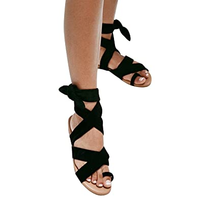 8b63d2ef9c07 Syktkmx Womens Lace Up Strappy Toe Ring Cute Summer Beach Flat Dress  Gladiator Sandals Black