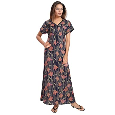 3e0c9dd84a PIU Women s Front Open Zipper Cotton Nighty Mix Cotton Dark Floral Print  Fabric Comfort Fit Roomwear Nightwear Beautiful Hot Decent Full Length Half  Sleeves