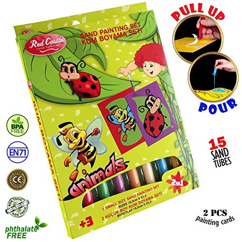 Red Castle New in USA.. The Most Famous Sand Art Kits for Kids in All Europe Sand Painting Art Kits, Colored Sand Painting, DIY Learning Craft Kit, 15 Colored Sand Tubes - BEE & Ladybird