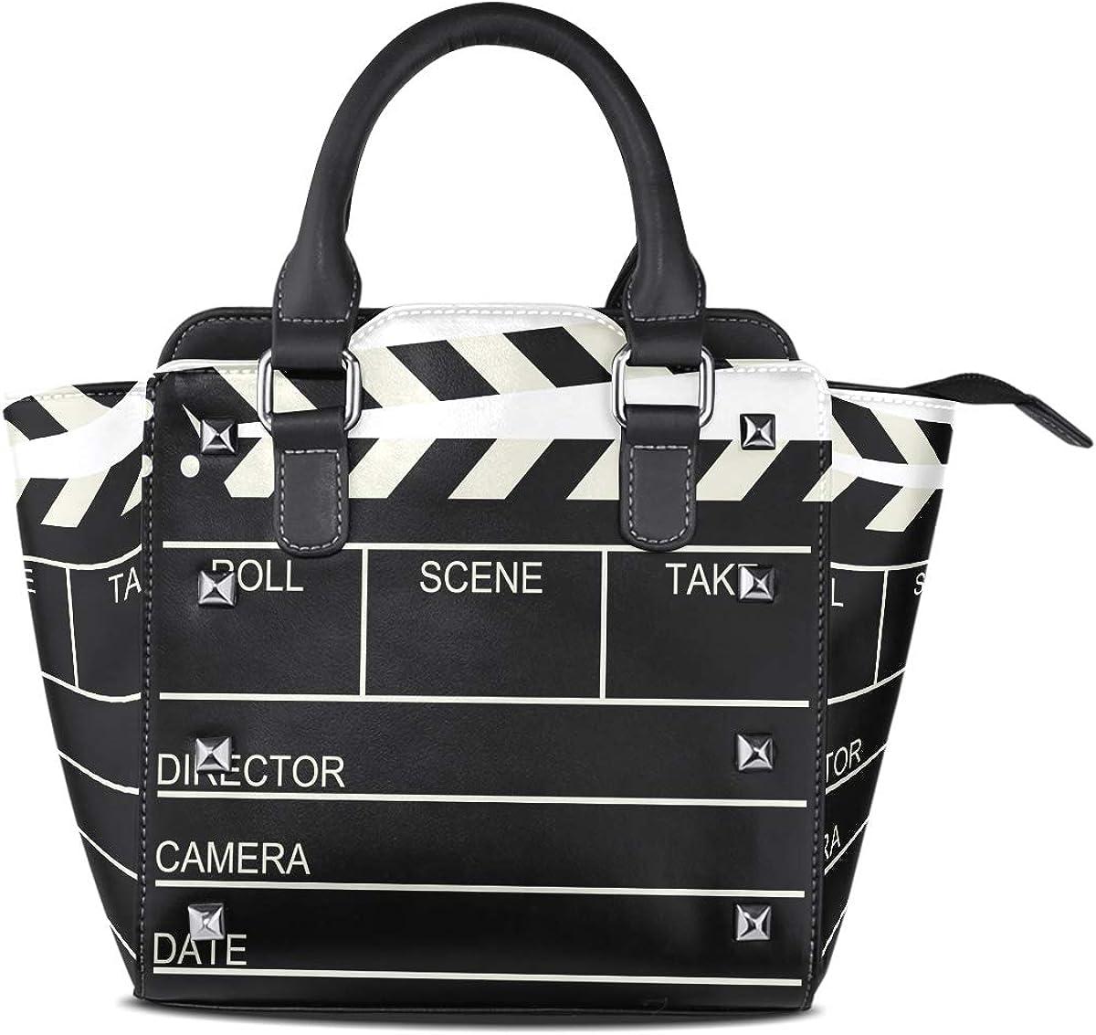 Use4 Womens Hipster Lion Black Rivet PU Leather Tote Bag Shoulder Bag Purse