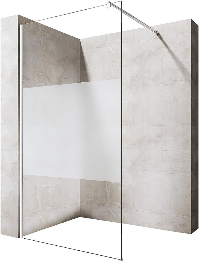 Ducha Durovin espaciosa de la más alta calidad 8 mm, caja de vidrio para ducha con protector, Frosted Strip Glass, 900mm x 2000mm: Amazon.es: Hogar