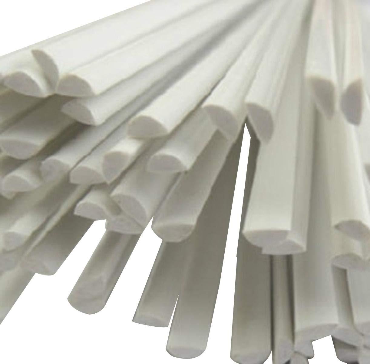 9.85 Long White 20pcs ABS Styrene Plastic Half Round Bar Rod 2mm Dia