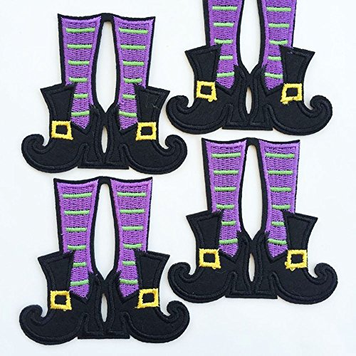 Set of 10pcs Halloween Purple Green Witch Boots