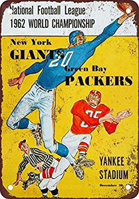 1962 Packers vs. Giants Championship Vintage Look Reproduction Metal Tin Sign 8X12 Inches