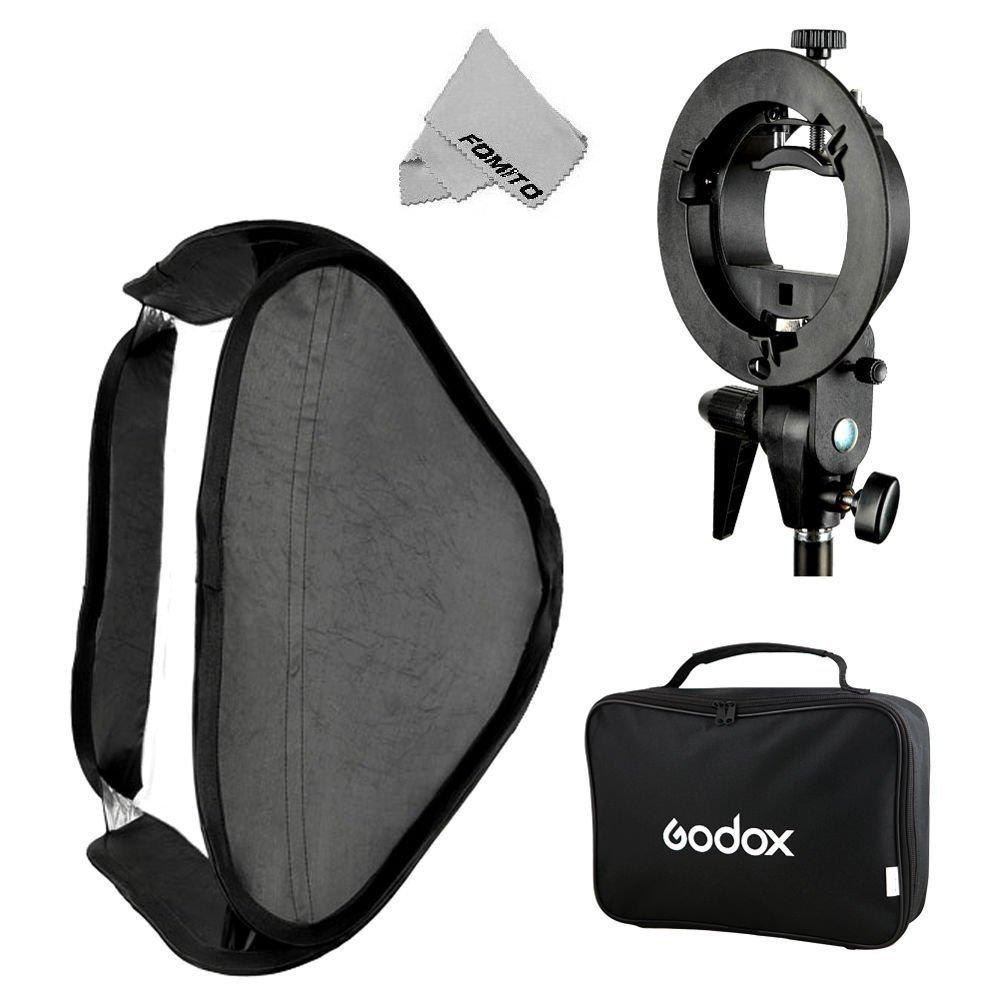 Fomito Godox Pro Floading Adjustable 80cm x 80cm Flash Soft Box Kit with S-Type Bracket Bowen Mount Holder for Camera Studio Photography by Fomito