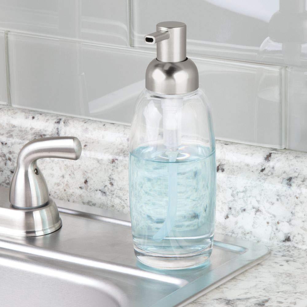 lot de 2 transparent//argent/é pousse mousse en verre et plastique pompe /à savon de 355 mL pour cuisine ou salle de bain mDesign distributeur de savon rechargeable