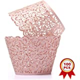 SUYEPER 100pcs Cupcake Wrappers Artistic Bake Cake Paper Cups Little Vine Lace Laser Cut Liner Baking Cup Muffin Case…