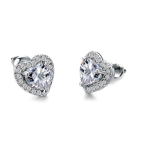 8d15997ac29cb Amazon.com: Romantic Shining White AAA Zirconia Heart Stud Earrings ...