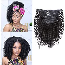 Anrosa 8A Grade Kinkys Curly Clip in Natural Hair Extensions Brazilian Afro Kinky Clip ins Extensions for African American Double Weft Human Hair 3B 3C 4A Hair Black Big Volume Thick 120 Gram 16 Inch