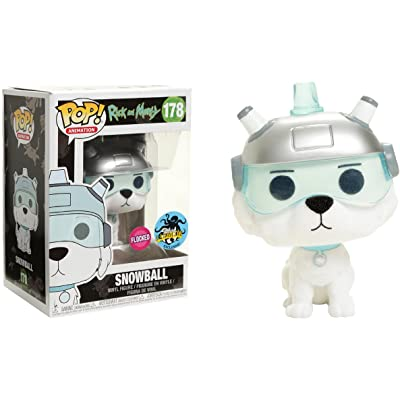 Funko Snowball [Flocked] (2020 LA Comic Con Exclusive) POP! Animation x Rick & Morty Vinyl Figure + 1 American Cartoon Themed Trading Card Bundle (24565): Toys & Games