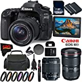 Canon EOS 80D DSLR Camera + 18-55mm Lens + Canon EF f/2.8L III USM Lens + 128GB Memory Card International Version