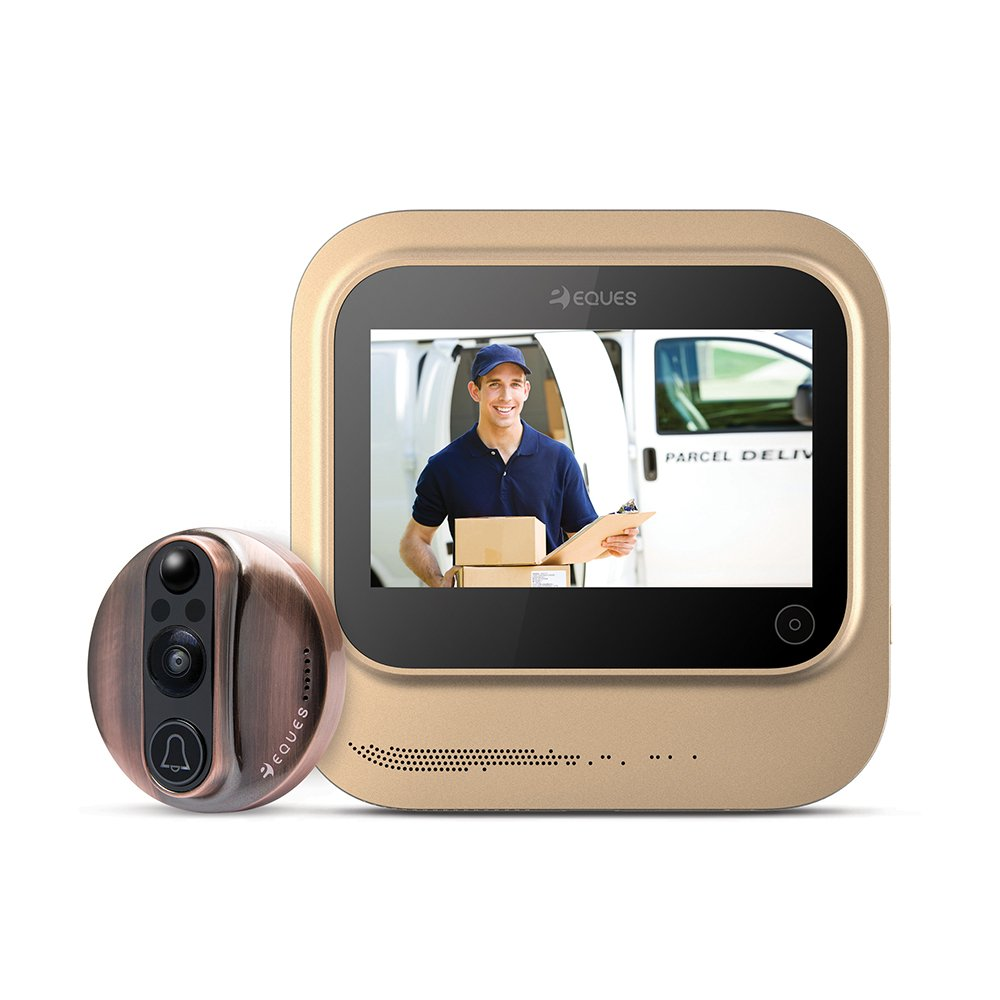 World's Smartest Video Doorbell - Eques VEIU Rechargeable Door Camera Peephole Viewer for Your Home Security - WIFI Enabled - Night Vision - Large LED Touch Screen - iOS & Android (Copper)