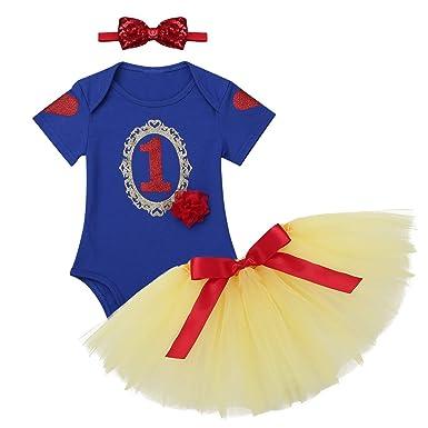dbd1f75564a07 inlzdz Bébé Fille Bodys Combinaisons Barboteuses Manches Courtes Coton   Tutu Jupe  Bandeau Cadeau Déguisement Princesse Costume