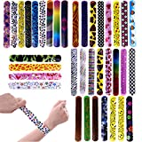 FUN LITTLE TOYS 72 PCs Slap Bracelets Toy Party Favor Pack With Colorful Hearts Emoji Animal Print Design Retro Slap Bands for Birthday Parties, Kids Prizes ,Stocking Stuffers, Pinata Fillers