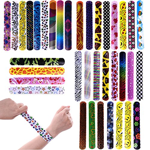 FUN LITTLE TOYS 72 PCs Slap Bracelets Toy Party Favor Pack Colorful Hearts Emoji Animal Print Design Retro Slap Bands Birthday Parties, Kids Prizes ,Stocking Stuffers, Pinata Fillers -