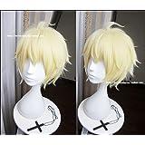 Happylifehere Japanese Anime Short Layered Blonde Cosplay Costume Wig + Free Wig Cap