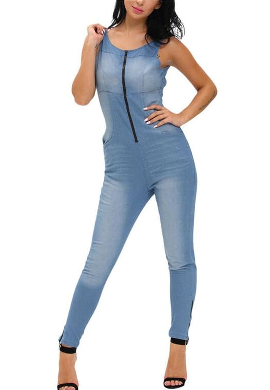 Women's Sexy Round Neck Sleeveless Backless Zipper Long Denim Overall Jumpsuit