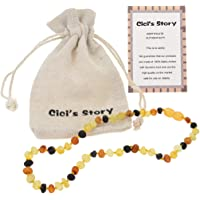 Baltic Amber Teething Necklace for Baby (Unisex)(Multicolor Raw) - 33cm Long - Baby Gift Sets - Knotted Between Beads
