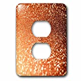 3dRose Uta Naumann Faux Glitter Pattern - Luxury Orange Copper Gold Metallic Faux Glitter Print - Light Switch Covers - 2 plug outlet cover (lsp_268840_6)