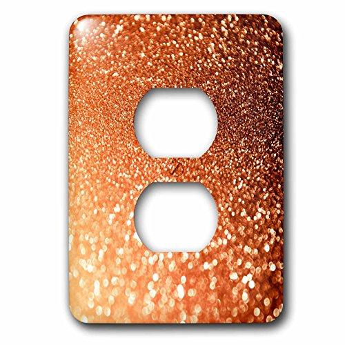 3dRose Uta Naumann Faux Glitter Pattern - Luxury Orange Copper Gold Metallic Faux Glitter Print - Light Switch Covers - 2 plug outlet cover (lsp_268840_6) by 3dRose