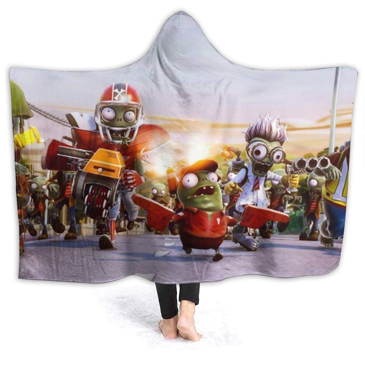 Spring Hooded Blankets for Kids Teens, PVZ 2 Garden Warfare Game Poster Wearable Blankets for Christmas, Camping, Better Sleep, All Seasons Large Hoodie Cloak